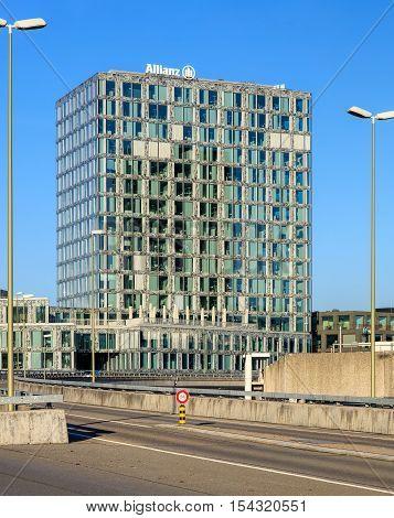 Wallisellen, Switzerland - 30 October, 2016: the Allianz Suisse building, view from the motorway bridge on Neue Winterthurerstarsse street. Allianz Suisse is one of the major insurance companies in Switzerland, headquartered in Wallisellen.