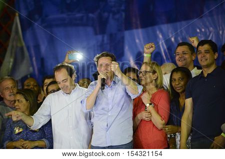Rio de Janeiro Brazil - october 30 2016: Crivella is elected mayor of the city of Rio de Janeiro and speaks for the first time with people in Bangu Atl