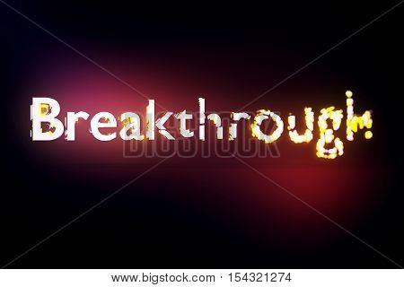 Breakthrough concept. Creative voluminous writing on red background. 3D Rendering
