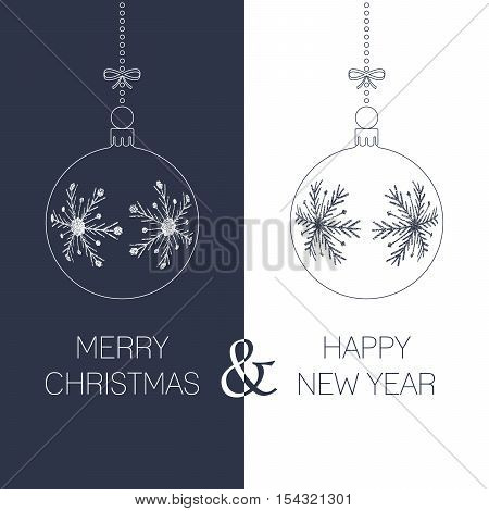 christmas and new year greeting card with textured christmas balls and text duotone holiday vector