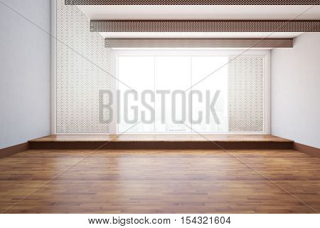 Front view of unfurnished interior with wooden floor dark mesh windows and city view. 3D Rendering
