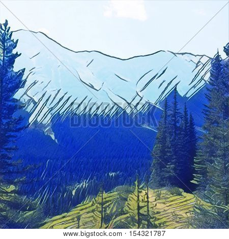 Digital Painting - Watercolor view of mauntains