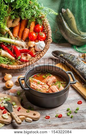 Freshly Caught Fish And Vegetables For Soup Ingredients