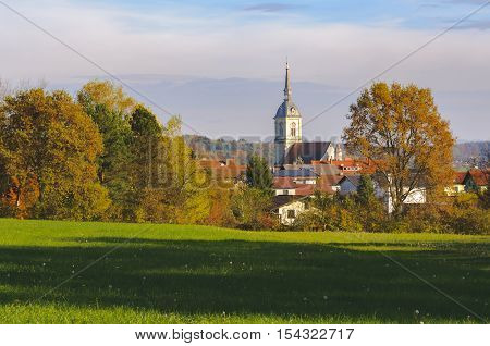 St. Bartholomew's church in Slovenska Bistrica Slovenia view from the near hill