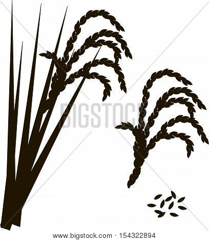 Black and white outline of rice, vector illustration
