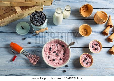 Whipped Cream And Fresh Blueberries As Ingredients For Ice Cream