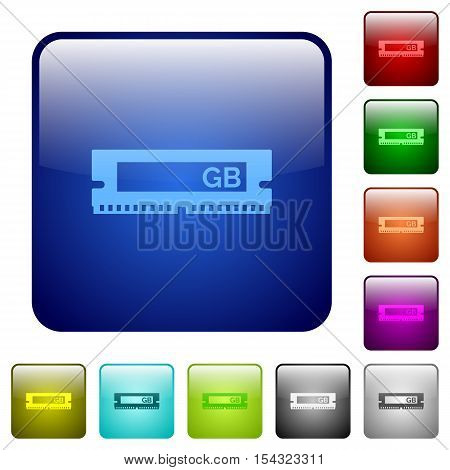 RAM module color glass rounded square button set