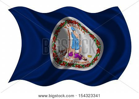 Flag of the US state of Virginia. American patriotic element USA banner United States of America symbol Virginian official flag with real detailed fabric texture wavy isolated on white 3D illustration