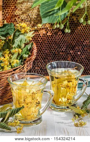 Closeup of tea with lime and honey