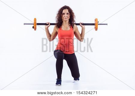 Young Adult Girl Doing Heavy Weightlifting During Cross Fit Exercise