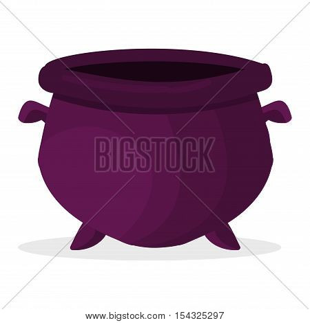 Vintage empty dark cauldron container isolated on white. Vector empty pot utensil kitchen shiny cooking pan. Metal empty pot kitchenware equipment stainless cuisine dish clay.