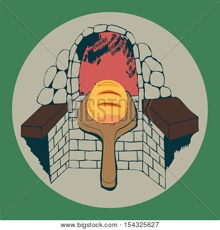 Vector illustration of a fresh loaf of bread and a brick bread oven
