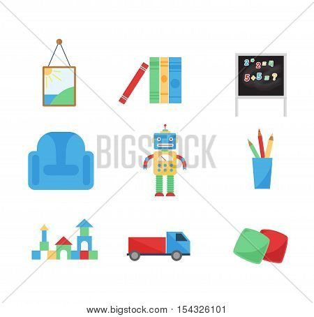 Set of different cartoon vector toys. Toys icons set collection doll symbol baby robot vector illustration. Joystick gift icons rattle toys icons child game play entertainment.