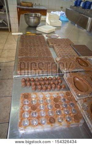 Fresh chocolate inside of a chocolate factory and store, in the outskirts of Guaranda, Bolivar Province, in Ecuador