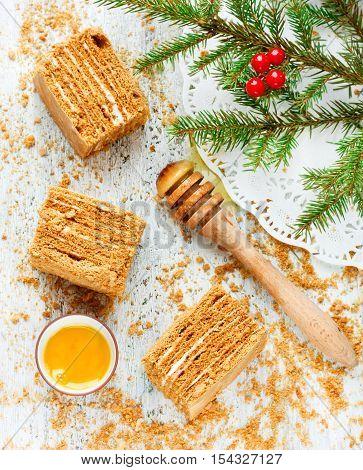 Christmas party dinner menu dessert idea - delicious homemade honey cake pieces top view