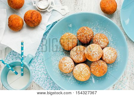 Homemade fried fresh donuts winter recipe top view