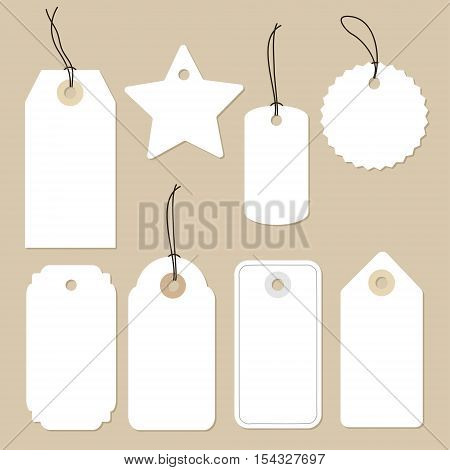 Set of various blank white paper tags labels stickers. Isolated vector elements flat design.