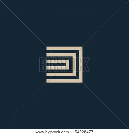 Unusual geometric letter D. Architecture vector logo. Isolated monogram