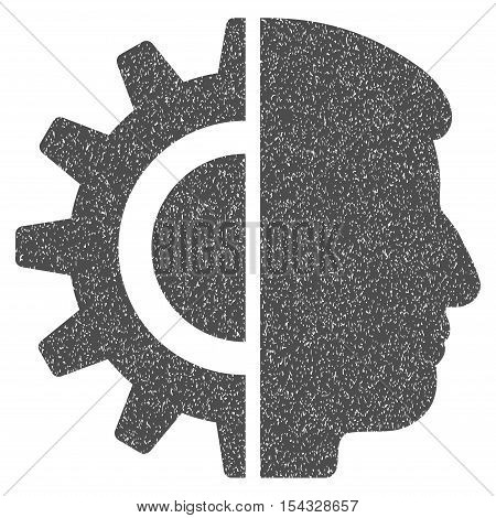 Android Robotics grainy textured icon for overlay watermark stamps. Flat symbol with dust texture. Dotted vector gray ink rubber seal stamp with grunge design on a white background.