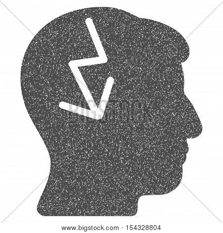 Brain Electric Strike grainy textured icon for overlay watermark stamps. Flat symbol with scratched texture. Dotted vector gray ink rubber seal stamp with grunge design on a white background.