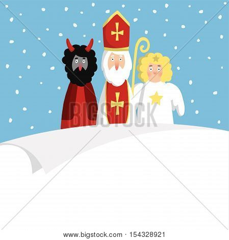 St. Nicholas with devilangel and blank paper. Cute Christmas invitation card wish list. Flat design vector illustration winter background.