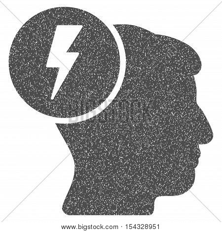 Brain Electricity grainy textured icon for overlay watermark stamps. Flat symbol with dirty texture. Dotted vector gray ink rubber seal stamp with grunge design on a white background.