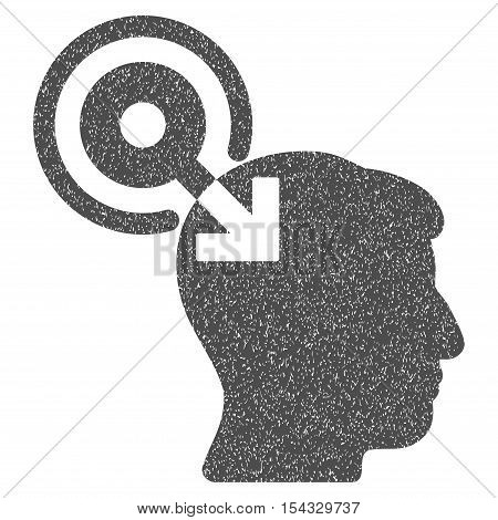 Brain Interface Plug-In grainy textured icon for overlay watermark stamps. Flat symbol with dust texture. Dotted vector gray ink rubber seal stamp with grunge design on a white background.