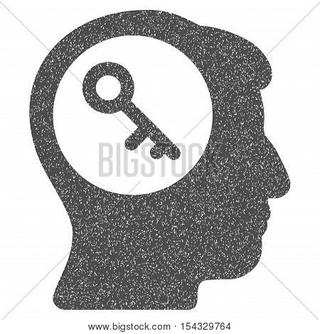 Brain Key grainy textured icon for overlay watermark stamps. Flat symbol with unclean texture. Dotted vector gray ink rubber seal stamp with grunge design on a white background.