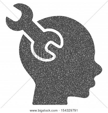 Brain Service Wrench grainy textured icon for overlay watermark stamps. Flat symbol with dust texture. Dotted vector gray ink rubber seal stamp with grunge design on a white background.
