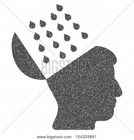 Brain Shower grainy textured icon for overlay watermark stamps. Flat symbol with unclean texture. Dotted vector gray ink rubber seal stamp with grunge design on a white background.