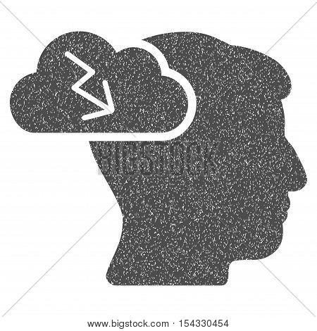 Brainstorming grainy textured icon for overlay watermark stamps. Flat symbol with dust texture. Dotted vector gray ink rubber seal stamp with grunge design on a white background.