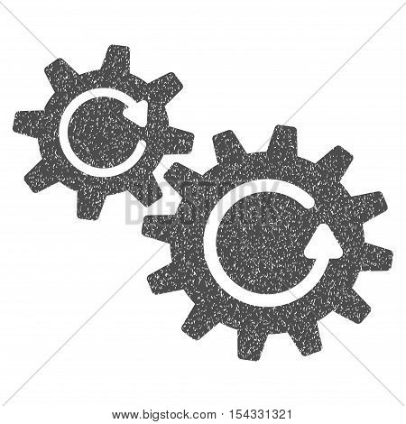 Cogs Rotation grainy textured icon for overlay watermark stamps. Flat symbol with dust texture. Dotted vector gray ink rubber seal stamp with grunge design on a white background.