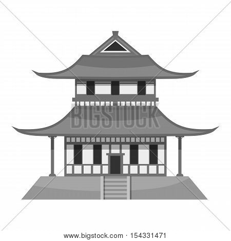 Pagoda icon. Gray monochrome illustration of pagoda vector icon for web