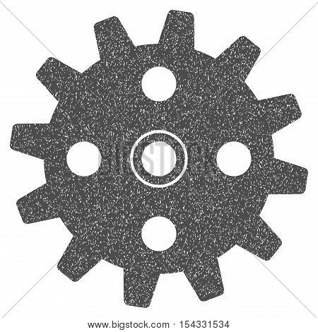 Cogwheel grainy textured icon for overlay watermark stamps. Flat symbol with dirty texture. Dotted vector gray ink rubber seal stamp with grunge design on a white background.
