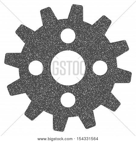 Cogwheel grainy textured icon for overlay watermark stamps. Flat symbol with unclean texture. Dotted vector gray ink rubber seal stamp with grunge design on a white background.