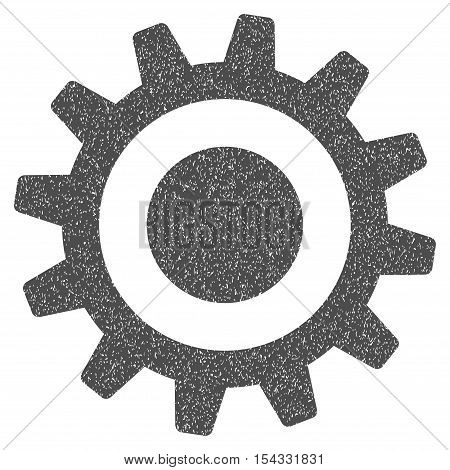 Cogwheel grainy textured icon for overlay watermark stamps. Flat symbol with dust texture. Dotted vector gray ink rubber seal stamp with grunge design on a white background.