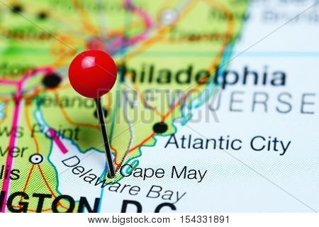 Cape May pinned on a map of New Jersey, USA
