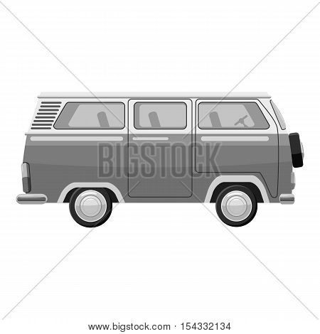 Mini bus icon. Gray monochrome illustration of mini bus vector icon for web