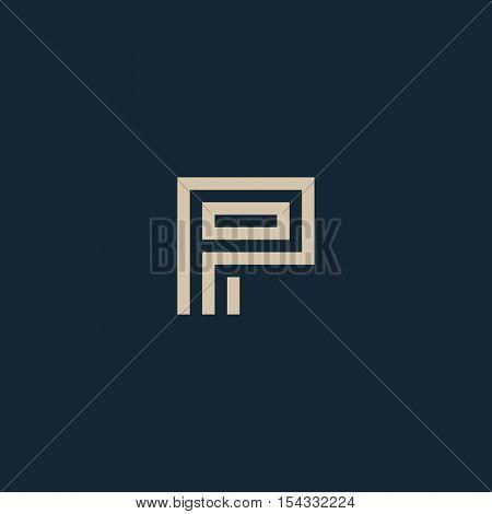 Unusual geometric letter P. Architecture vector logo. Isolated monogram