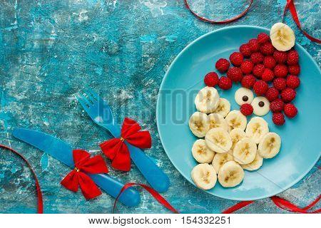 Healthy Christmas dessert snack breakfast for kids - raspberry banana cute Santa
