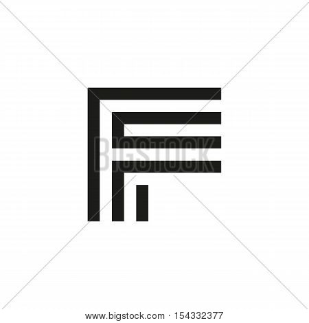 Unusual geometric letter F. Architecture vector logo. Isolated monogram