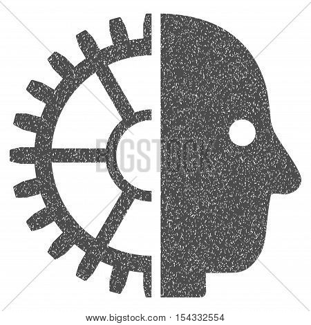 Cyborg Head grainy textured icon for overlay watermark stamps. Flat symbol with dust texture. Dotted vector gray ink rubber seal stamp with grunge design on a white background.