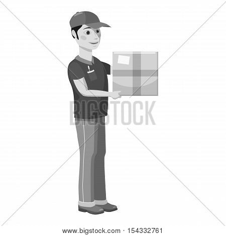 Courier icon. Gray monochrome illustration of courier vector icon for web