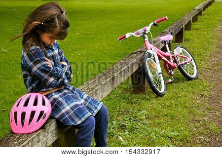 Sad Little Girl Do Not Know How To Ride A Bike