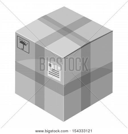 Closed box icon. Gray monochrome illustration of closed box vector icon for web