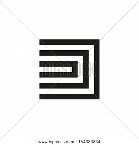 Unusual geometric letter D. Architecture vector logo. Isolated monogram