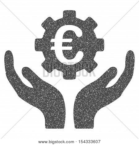 Euro Maintenance Hands grainy textured icon for overlay watermark stamps. Flat symbol with unclean texture. Dotted vector gray ink rubber seal stamp with grunge design on a white background.