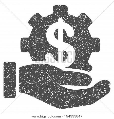 Financial Development Gear Hand grainy textured icon for overlay watermark stamps. Flat symbol with dust texture. Dotted vector gray ink rubber seal stamp with grunge design on a white background.