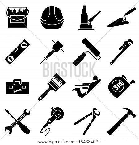 Sixteen industrial construction engineering tools collection in flat style and black and white colors. Vector illustration