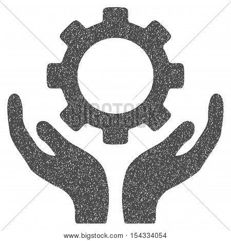 Gear Maintenance Hands grainy textured icon for overlay watermark stamps. Flat symbol with scratched texture. Dotted vector gray ink rubber seal stamp with grunge design on a white background.
